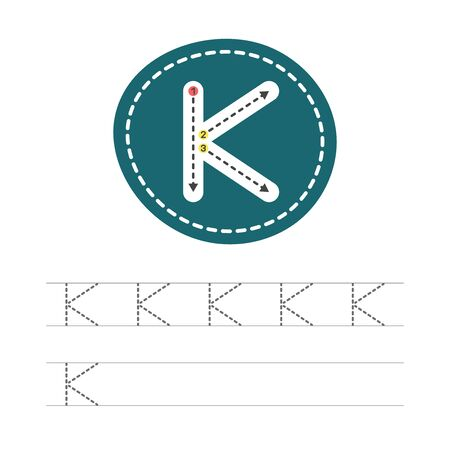 Learning to write a letter - K. A practical sheet from a set of exercises for the development and education of children. Writing a letter from the English alphabet. Vector illustration. Ilustração