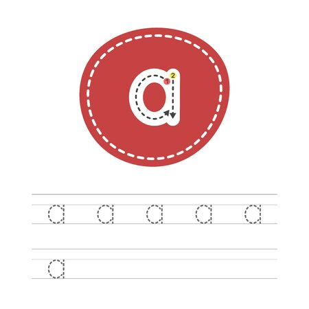 Learning to write a small letter - A. A practical sheet from a set of exercises for the development and education of children. Spelling a letter from the English alphabet. Vector illustration. Ilustração