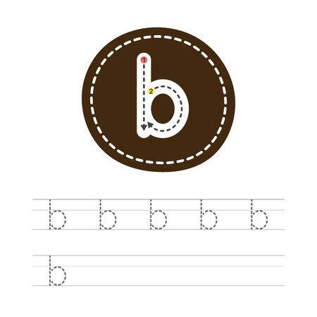 Learning to write a small letter - B. A practical sheet from a set of exercises for the development and education of children. Spelling a letter from the English alphabet. Vector illustration. Ilustração