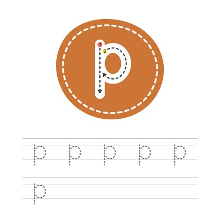 Learning to write a small letter - P. A practical sheet from a set of exercises for the development and education of children. Spelling a letter from the English alphabet. Vector illustration.