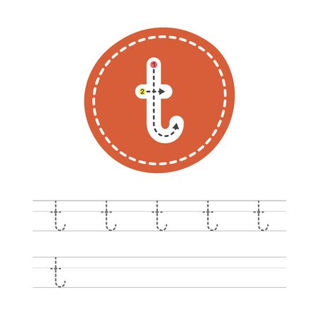 Learning to write a small letter - T. A practical sheet from a set of exercises for the development and education of children. Spelling a letter from the English alphabet. Vector illustration.