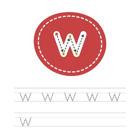 Learning to write a small letter - W. A practical sheet from a set of exercises for the development and education of children. Spelling a letter from the English alphabet. Vector illustration.