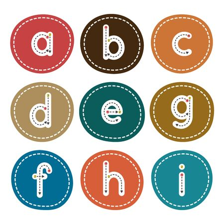 English alphabet from small letters. Card from a set for childrens development and education. Vector illustration. Part 2.