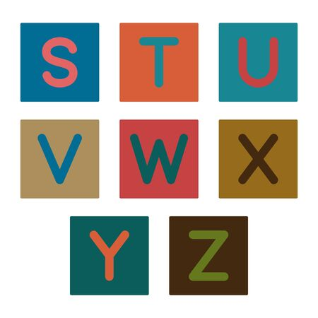 English alphabet. Card from a set for children's development and education. Vector illustration. Part 3.