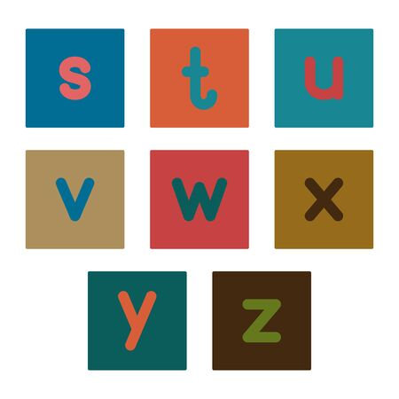 English alphabet from small letters. Card from a set for children's development and education. Vector illustration. Part 2.