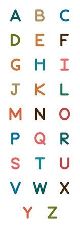 English alphabet. Card from a set for children's development and education. Vector illustration.