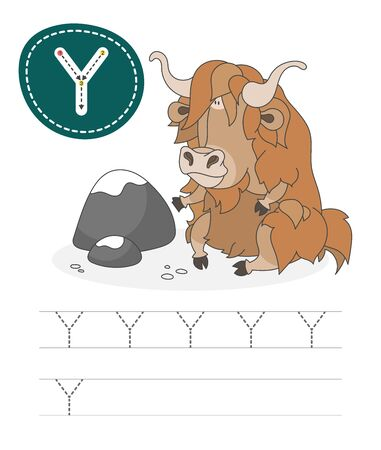 Learning to write a letter - Y. A practical sheet from a set of exercises game for kids. Cartoon funny animal with letter. Spelling the alphabet. Child development and education. Yak - Vector. Çizim