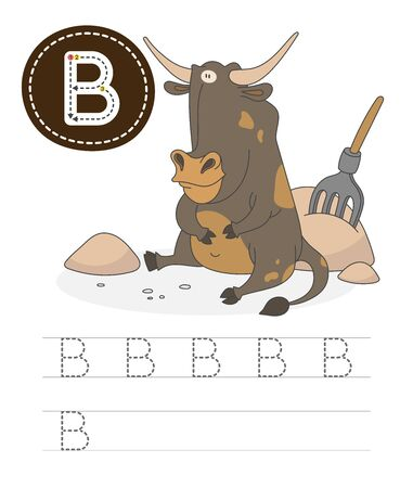 Learning to write a letter - B. A practical sheet from a set of exercises game for kids. Cartoon funny farm animal with letter. Spelling the alphabet. Child development and education. Bull - Vector. Çizim