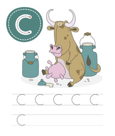 Learning to write a letter - C. A practical sheet from a set of exercises game for kids. Cartoon funny farm animal with letter. Spelling the alphabet. Child development and education. Cow - Vector. Stok Fotoğraf - 131708309