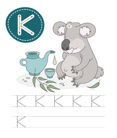 Learning to write a letter - K. A practical sheet from a set of exercises game for kids. Cartoon funny animal with letter. Spelling the alphabet. Child development and education. Koala - Vector