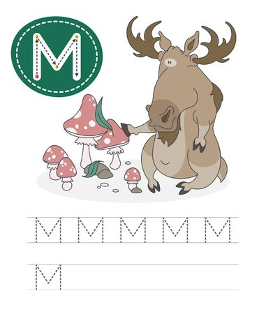 Learning to write a letter - M. A practical sheet from a set of exercises game for kids. Cartoon funny horned animal with letter. Spelling the alphabet. Child development and education. Moose - Vector. Stok Fotoğraf - 131708319