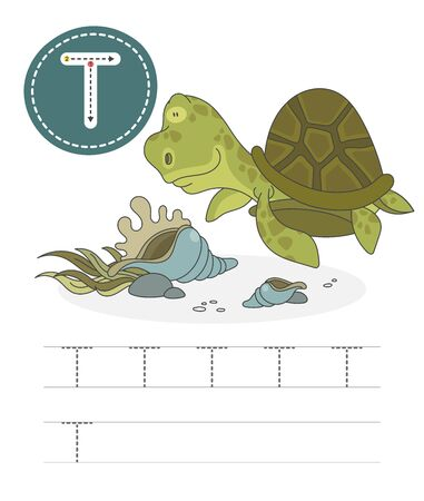 Learning to write a letter - T. A practical sheet from a set of exercises game for kids. Cartoon funny reptile with letter. Spelling the alphabet. Child development and education. Turtle - Vector.
