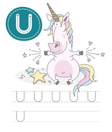 Learning to write a letter - U. A practical sheet from a set of exercises game for kids. Cartoon funny animal with letter. Spelling the alphabet. Child development and education. Unicorn - Vector