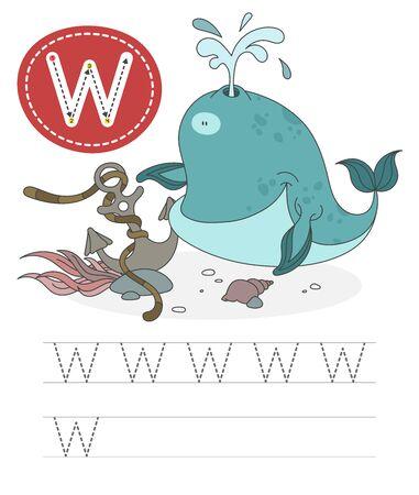 Imparare a scrivere una lettera - W. Un pratico foglio da una serie di esercizi di gioco per bambini. Abitante dell'acqua divertente del fumetto con la lettera. L'ortografia dell'alfabeto. Sviluppo ed educazione del bambino. balena - vettore. Vettoriali