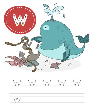 Learning to write a letter - w. A practical sheet from a set of exercises game for kids. Cartoon funny water inhabitant with letter. Spelling the alphabet. Child development and education. Whale - Vector.