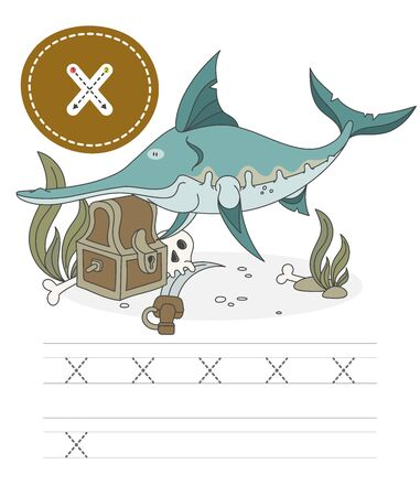 Learning to write a letter - x. A practical sheet from a set of exercises game for kids.Cartoon funny water inhabitant with letter. Spelling the alphabet. Child development and education. Smordfish - Vector. Illusztráció