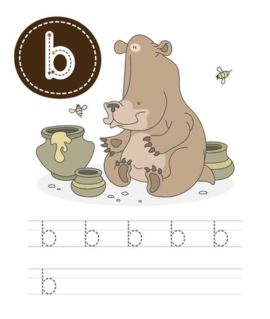 Learning to write a letter - B. A practical sheet from a set of exercises game for kids. Cartoon funny forest animal with letter. Spelling the alphabet. Child development and education. Bear - Vector.