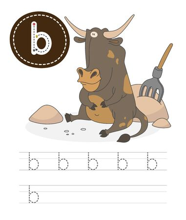 Learning to write a letter - B. A practical sheet from a set of exercises game for kids. Cartoon funny farm animal with letter. Spelling the alphabet. Child development and education. Bull - Vector. Illusztráció