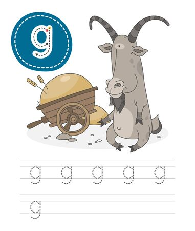 Learning to write a letter - G. A practical sheet from a set of exercises game for kids. Cartoon funny farm animal with letter. Spelling the alphabet. Child development and education. Goat - Vector.