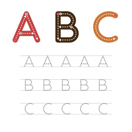 Learning to write a letter - A,B,C. A practical sheet from a set of exercises for the development and education of children. Writing a letter from the English alphabet. Vector illustration. Illusztráció