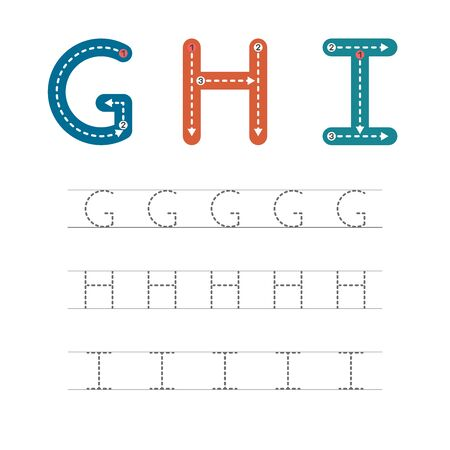 Learning to write a letter - G,H,I. A practical sheet from a set of exercises for the development and education of children. Writing a letter from the English alphabet. Vector illustration. Illusztráció