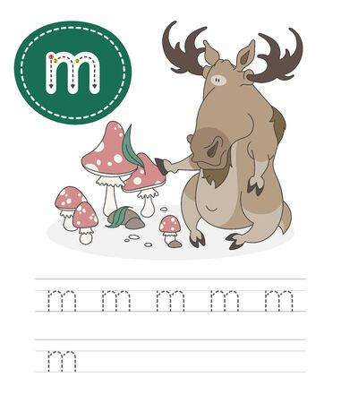 Learning to write a letter - m. A practical sheet from a set of exercises game for kids. Cartoon funny horned animal with letter. Spelling the alphabet. Child development and education. Moose - Vector.