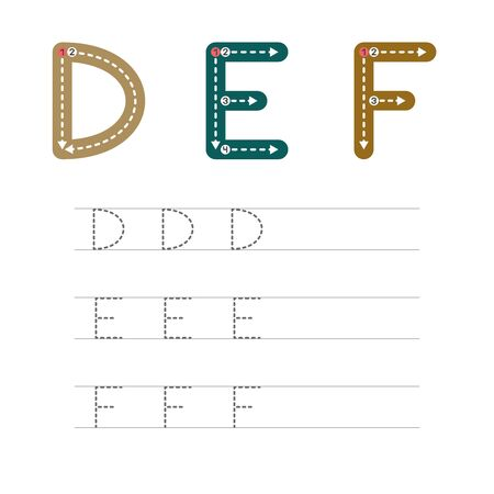Learning to write a letter - D,E,F. A practical sheet from a set of exercises for the development and education of children. Writing a letter from the English alphabet. Vector illustration. Illusztráció