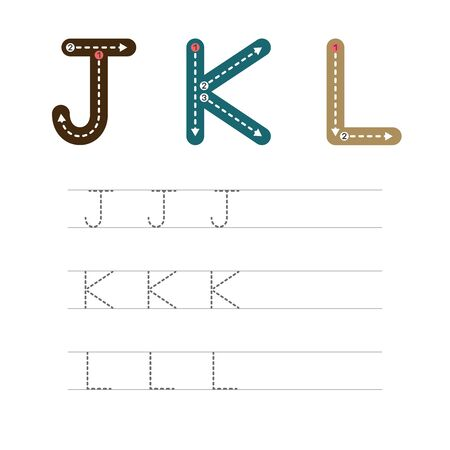 Learning to write a letter - J,K,L. A practical sheet from a set of exercises for the development and education of children. Writing a letter from the English alphabet. Vector illustration. Illusztráció