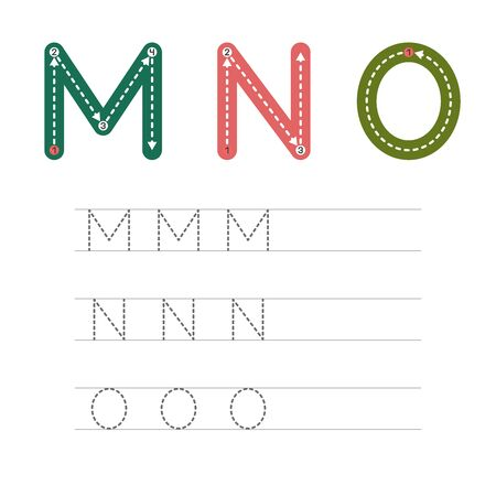 Learning to write a letter - M,N,O. A practical sheet from a set of exercises for the development and education of children. Writing a letter from the English alphabet. Vector illustration. Illusztráció