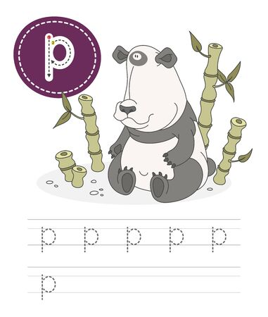 Learning to write a letter - p. A practical sheet from a set of exercises game for kids. Cartoon funny animal with letter. Spelling the alphabet. Child development and education. Panda - Vector.