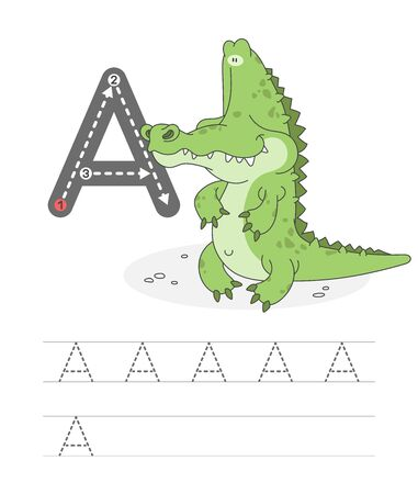Learning to write a letter - A. A practical sheet from a set of exercises game for kids. Cartoon funny reptile with letter. Spelling the alphabet. Child development and education. Alligator - Vector