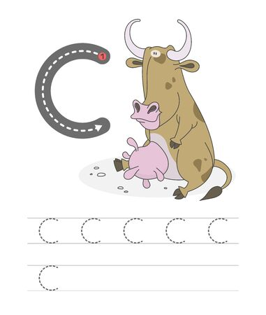 Learning to write a letter - C. A practical sheet from a set of exercises game for kids. Cartoon funny farm animal with letter. Spelling the alphabet. Child development and education. Cow - Vector.