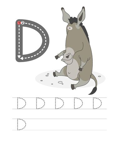 Learning to write a letter - D. A practical sheet from a set of exercises game for kids. Cartoon funny bird with letter. Spelling the alphabet. Child development and education. Donkey - Vector.