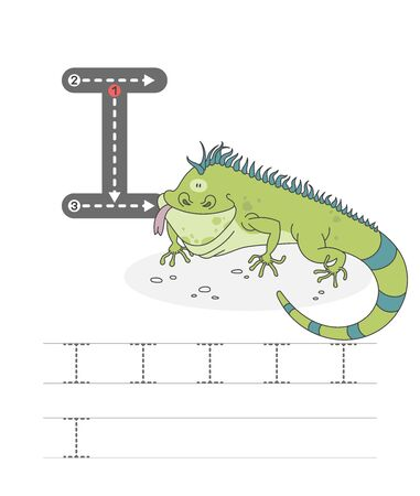 Learning to write a letter - I. A practical sheet from a set of exercises game for kids. Cartoon funny green lizard with letter. Spelling the alphabet. Child development and education. Iguana - Vector.