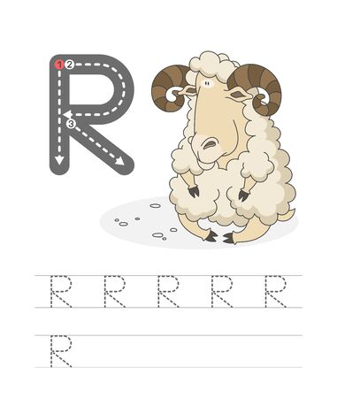 Learning to write a letter - R. A practical sheet from a set of exercises game for kids. Cartoon funny farm animal with letter. Spelling the alphabet. Child development and education. Ram - Vector. Illusztráció