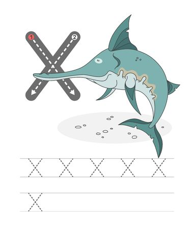 Learning to write a letter - N. A practical sheet from a set of exercises game for kids. Cartoon funny water inhabitant with letter. Spelling the alphabet. Child development and education. Narwhal - Vector.
