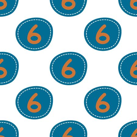 Flat linear design. Seamless texture of numbers. Numeral - 6. Can be used for wallpaper, pattern fills, web page, surface textures, textile print, wrapping paper - Vector