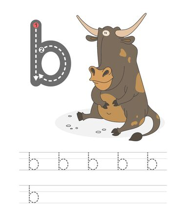 Learning to write a letter - b. A practical sheet from a set of exercises game for kids. Cartoon funny farm animal with letter. Spelling the alphabet. Child development and education. Bull - Vector.