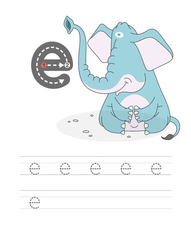 Learning to write a letter - E. A practical sheet from a set of exercises game for kids. Cartoon funny animal with letter. Spelling the alphabet. Child development and education. Elefant - Vector.