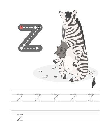 Learning to write a letter - z. A practical sheet from a set of exercises game for kids. Cartoon funny african animal with letter. Spelling the alphabet. Child development and education. Zebra - Vector.