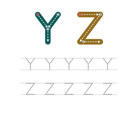 Learning to write a letter - Y,Z. A practical sheet from a set of exercises for the development and education of children. Writing a letter from the English alphabet. Vector illustration.