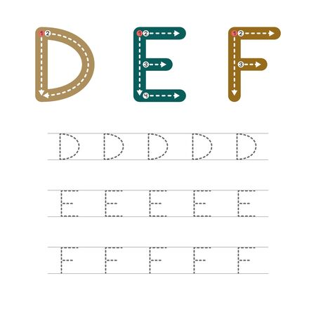 Learning to write a letter - D,E,F. A practical sheet from a set of exercises for the development and education of children. Writing a letter from the English alphabet. Vector illustration. Illustration