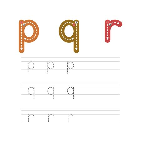 Learning to write a letter - P,Q,R. A practical sheet from a set of exercises for the development and education of children. Writing a letter from the English alphabet. Vector illustration.