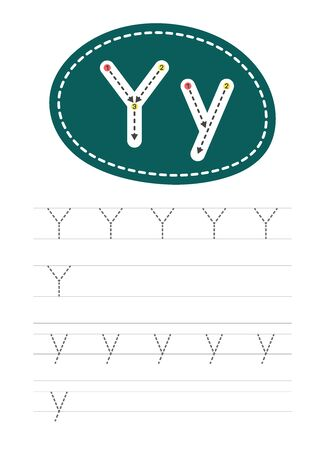 Learning to write a letter - Y. A practical sheet from a set of exercises for the development and education of children. Writing a letter from the English alphabet. Vector illustration.