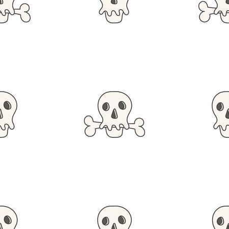 Flat linear design. Seamless texture of the human skull and bones. Can be used for wallpaper, pattern fills, web page, surface textures, textile print, wrapping paper - Vector Vectores