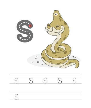 Learning to write a letter - s. A practical sheet from a set of exercises game for kids. Cartoon funny reptile with letter. Spelling the alphabet. Child development and education. Snake - Vector.