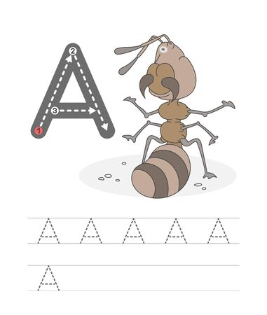Learning to write a letter - A. A practical sheet from a set of exercises game for kids. Cartoon funny insect with letter. Spelling the alphabet. Child development and education. Ant - Vector