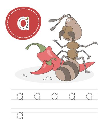 Learning to write a letter - A. A practical sheet from a set of exercises game for kids. Cartoon funny insect with letter. Spelling the alphabet. Child development and education. Ant - Vector Çizim