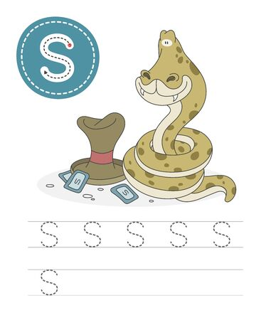 Learning to write a letter - S. A practical sheet from a set of exercises game for kids. Cartoon funny reptile with letter. Spelling the alphabet. Child development and education. Snake - Vector. 일러스트