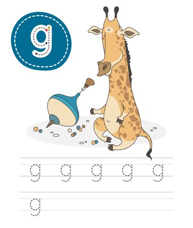 Learning to write a letter - g. A practical sheet from a set of exercises game for kids. Cartoon funny animal with letter. Spelling the alphabet. Child development and education. Giraffe - Vector. Vectores